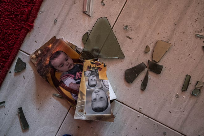 Damage inside the neighboring houses of the bombing, after heavy Israeli shelling in North Gaza City on May 20.