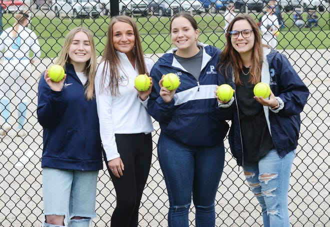 Petoskey 2020 seniors (from left) Katie Buerkel, Sami Haag, Aurora Sears and Alexa Sears were recognized before the start of the final home game of the 2021 season. Five Northmen seniors missed out on a final season because of the COVID pandemic. Not pictured: Gillian Howard.