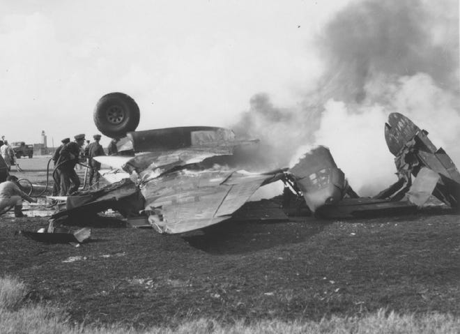 Boca Raton Fire-Rescue Fire Chief Thomas R. Wood, in his May/June department newsletter, wrote of a crash at the Boca Raton Army Air Field, now site of Florida Atlantic University and the Boca Raton Airport. Nine men died on May 12, 1944, when a B-34 crashed on the runway during takeoff for a routine radar training mission. (Photos courtesy U.S. Air Force archives and supplied by Wood)