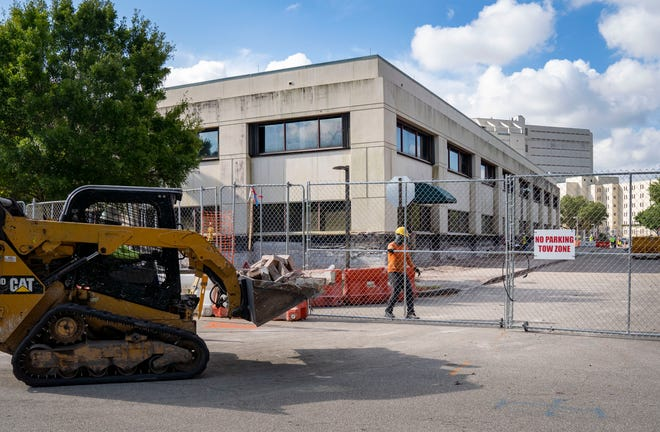 Construction at the sheriff's office headquarters in suburban West Palm Beach, Florida on May 27, 2021. Employees are concerned that building renovations are exposing them to asbestos and black mold.