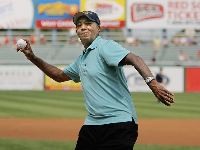 Charlie Butler throws out a ceremonial first pitch before a PawSox game in 2010.