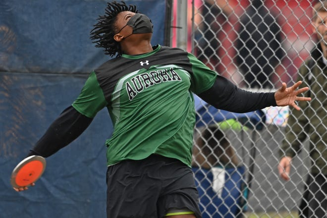 Aurora's Donovan Crawford, shown in competition at the Division I regional track & field championships in Austintown, finished 12th in the state in the Division I discus throw at the state championships June 5 at Hilliard Darby High School.