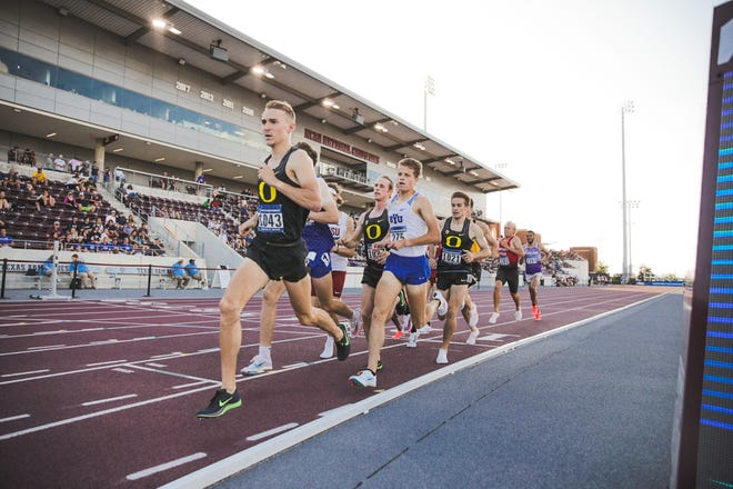Oregon's James West (left), Cole Hocker (center) and Reed Brown (right) compete in a first-round heat of the 1,500 Wednesday during the NCAA West Preliminary meet in College Station, Texas.