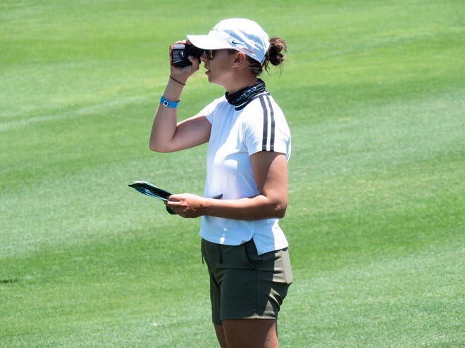 Oregon women's assistant golf coach Monica Vaughn, here surveying the landscape at the NCAA Championships in Scottsdale, Ariz., will play in the U.S. Open beginning Thursday.