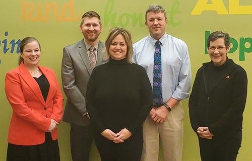 Marlington Local Board of Education members are (from left) Danielle Stevens,  Josh Hagan, Karen Humphries, Scott Mason and Carolyn Gabric