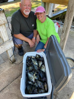 Dallas and Tammy Perry with a cooler full of speckled perch caught this week on Lake George and brought into Georgetown Marina.