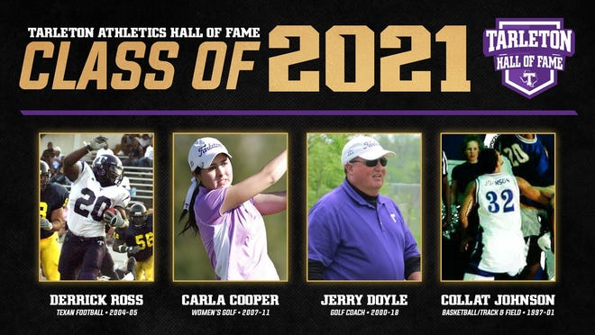 The four individuals being inducted this June into the Tarleton Athletics Hall of Fame are Derrick Ross (football), Carla Cooper (women's golf), Jerry Doyle (women's golf), and Collat Johnson (men's basketball/track & field).
