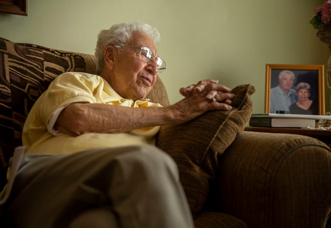 """World War II Veteran Jasper Madonia, 100, reminisces about his trip on the Honor Flight and visiting the war memorials in Washington D.C. while at his home in Springfield Thursday, May 27. """"I was one of the lucky ones,"""" said Madonia about landing on Utah Beach on D-Day. """"God had his hand on me I guess."""""""