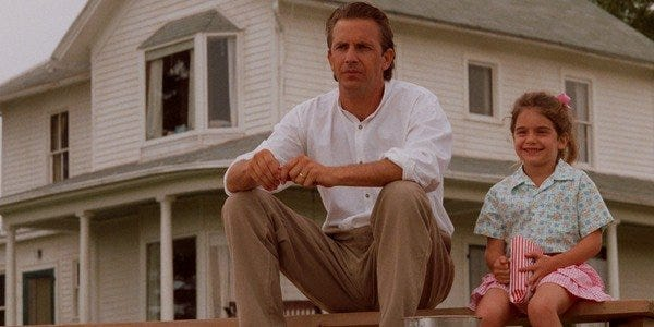 """Kevin Costner and Gaby Hoffmann in """"Field of Dreams,"""" which will be shown at Bergen Park on June 11."""