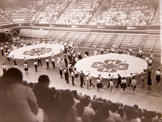 Delegates in this undated photo take part in State 4-H Roundup in what is now Gallagher/Iba Arena on the Oklahoma State University campus in Stillwater. Oklahoma 4-H'ers will gather at OSU in July to celebrate the 100th anniversary of State 4-H Roundup.