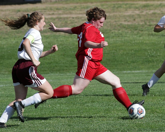 Carli Hulett of Constantine powers home a shot for the lone Lady Falcons goal on Wednesday.