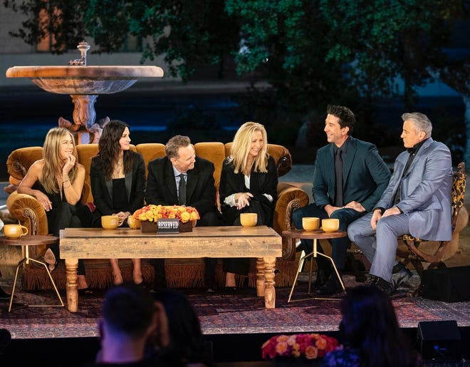 """Jennifer Aniston (left to right), Courteney Cox, Matthew Perry, Lisa Kudrow, David Schwimmer and Matt LeBlanc reunite for the new special """"Friends: The Reunion,"""" now streaming on HBO Max."""