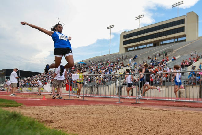 Washburn Rural's Zsmar Sipple wins at the long jump competition at Thursday's Class 6A track and field state championship at Cessna Stadium at Wichita State Unviersity.