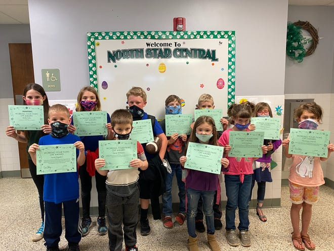 North Star Central Elementary Working Your PAWS Off (WYPO) Award winners for April are from left, front row: Lucas Hegadus, Dante Williams, Sylvia Shaffer, Leah Kaufman and Anastasia Orlandi. Back row: Alisha Yoder (Principal's Choice), Maddyn Maurer, Lincoln Paulin, Vaughn Schultz, Eli Tunstall and LillyAnn Maurer. These students were chosen based on their consistent PAWS (Perform Your Best, Act Responsibly, Work or Play Safely, Show Respect) behavior or who have shown a constant effort to improve their PAWS behavior. In recognition of their outstanding behavior, these students enjoyed a special lunch with the principal and school counselor.