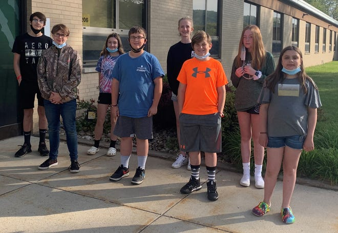 The North Star Faculty has selected the following students as Student of the Month for May. From left, front row: sixth grade: Laikyn Paxton and Jack Felesky; fifth grade: Blake Holder and Carley Hritz. Back row: seventh grade: Logan Kaminsky and Madolyn Kimmel; and eighth grade: Ruby Mostoller and Olivia Flesher. These students were selected based on their good manners, dependability, honesty, service to school, positive attitude, respect for others and good citizenship.