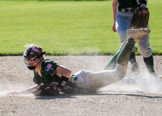 Nashoba's Audrey Arsenault dives for a play during a 2019 game.
