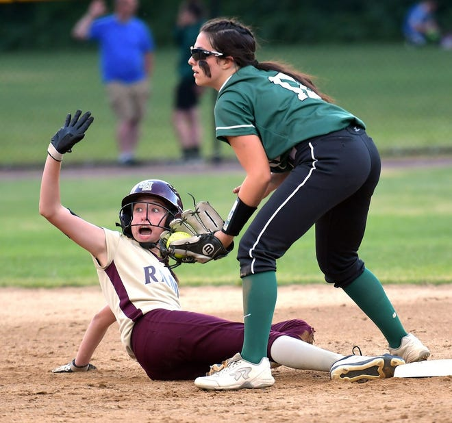 Shepherd Hill's Samantha Zannotti, shown calling for a time out during the Division 1 Central championship game in 2019, has moved to catcher this season for the Rams.