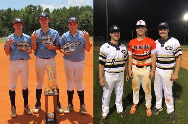 """From their days as Dixie Youth Baseball players in 2017 to their senior year of high school in 2021, Tyler Blackburn (left), Josh George and Tanner Bledsoe remain """"like brothers."""""""