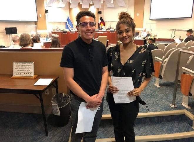 Angel Garcia (left) and Geonna King (right) presented during the Pueblo City Council meeting on Monday, May 24 about the Pueblo Food Project Youth Council's summer project.