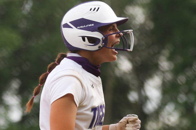 Central's Sara Tailford celebrates after scoring a run in a 6-2 win over Mount Vernon in a Division I regional semifinal May 26 at Olentangy Orange. The Tigers advanced to play Watkins Memorial in the regional final May 29.