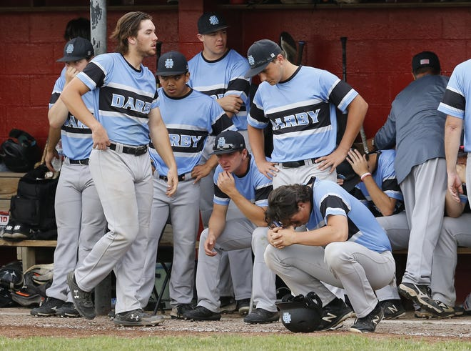 Darby players react to their 3-2 loss at Westerville South in a Division I district final May 26. The Panthers won 12 of their final 15 games and finished 23-8. It was their sixth consecutive district final and seventh in the last eight seasons.