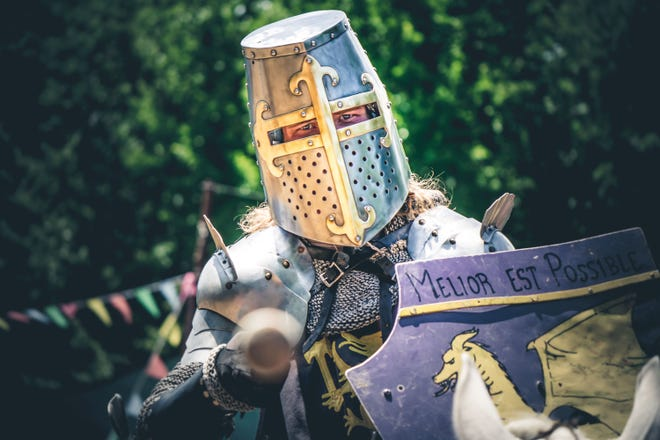 A knight prepares to joust at Scarborough Renaissance Festival. The annual festival closes out its 40th season on Monday.