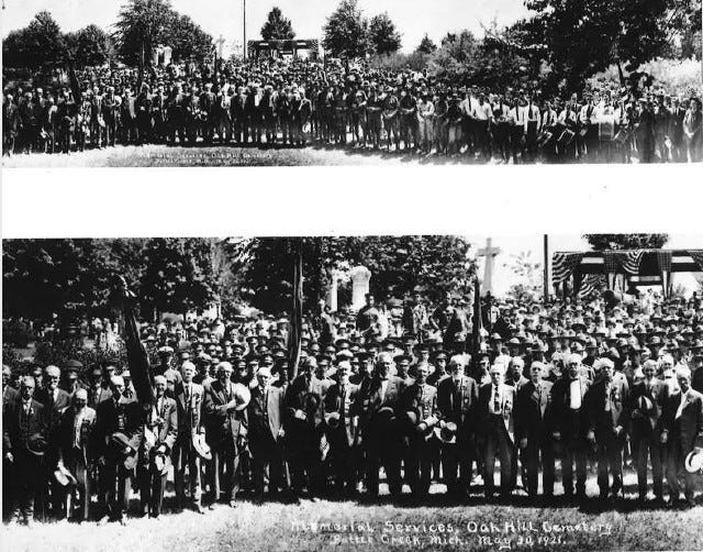 U.S. military veterans gather for a Memorial Day service at Oak Hill Cemetery in Battle Creek on May 30, 1921.