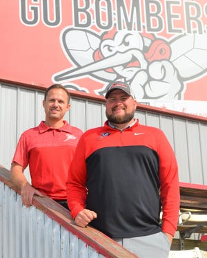 The Battle Creek Bombers Manager Partner Brian Colopy, left, and General Manager Tyler Shore are getting the franchise ready to start its 15th season at C.O. Brown Stadium, with Opening Day on Memorial Day.