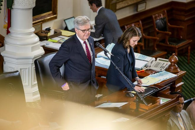 Lt. Gov. Dan Patrick presides over session on the Senate floor at the state Capitol on Tuesday.