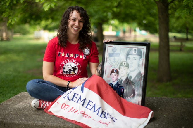 Nicole Glutz, 32, of Goshen, was in middle school when her brother, Army Sgt. Chad Keith, 21, was killed while on patrol in Baghdad when a bomb exploded, July 7, 2003. He's buried in Arlington National Cemetery.