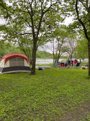 Campers set up at George Wyth State Park in Waterloo, Iowa, on May 22, 2020.