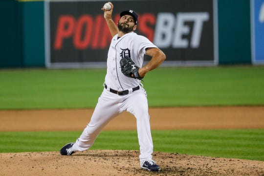 Detroit Tigers pitcher Michael Fulmer (32) delivers the pitch for Cleveland in the eighth inning at Comerica Park in Detroit on Wednesday, May 26, 2021.