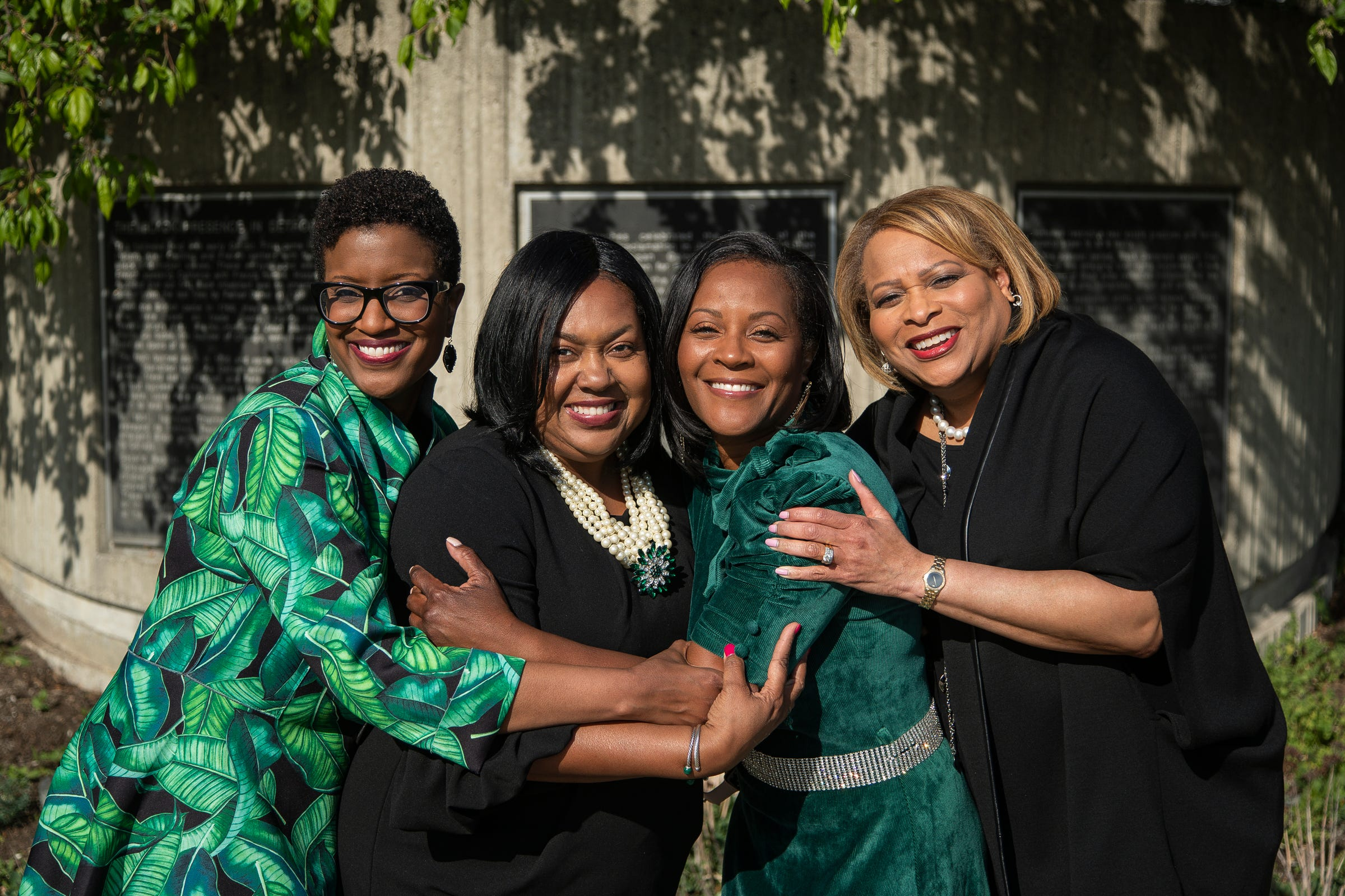 From left, The Links immediate past president Nutrena Tate of the Great Lakes chapter, president Denise Brooks-Williams of the Detroit chapter, president Linda Little of the Renaissance chapter and immediate past president Therese Peace Agboh of the Greater Wayne County chapter in front of the the Black Presence in Detroit historical marker in Detroit on May 13, 2021.
