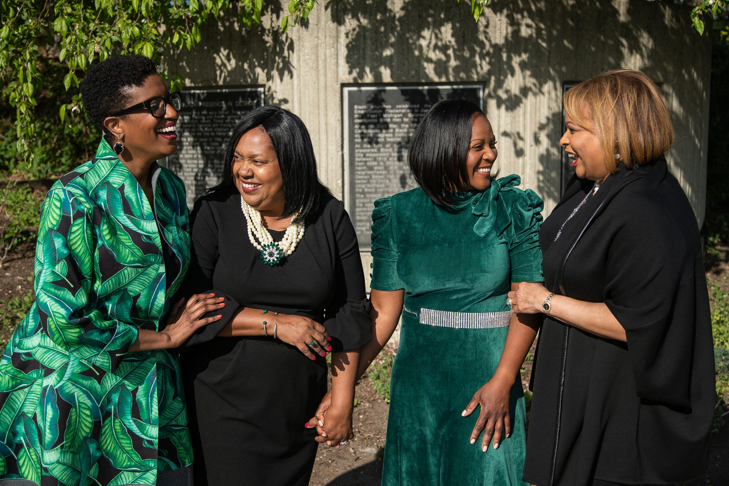 From left, The Links immediate past president Nutrena Tate of Great Lakes Chapter, current president Denise Brooks-Williams of the Detroit Chapter, president Linda Little of the Renaissance Chapter and immediate past president Therese Peace Agboh of the Greater Wayne County chapter in front of the Black Presence in Detroit historical marker in Detroit on May 13, 2021.