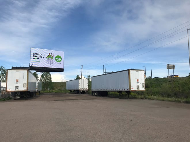 An electronic billboard, pictured here at the northwest corner of Harmony Road and I-25, is the subject of a city-county lawsuit.