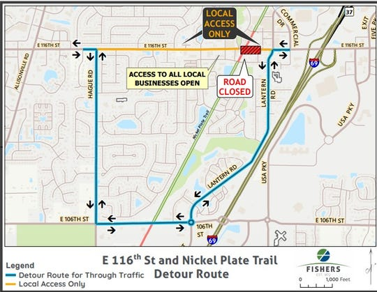 traffic will be diverted while 116th Street in Fishers is closed for two months