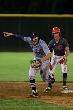 Central Catholic's A.J. Bordenet (21) reacts after Central Catholic defeated Clinton Prairie, 6-3 to advance in their IHSAA baseball sectional, Wednesday, May 26, 2021 in Delphi.