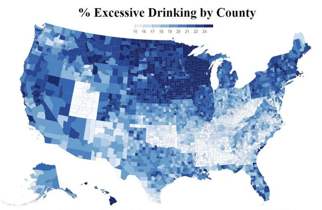 Excessive drinking by U.S. county