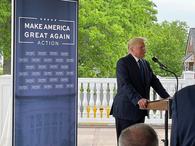 Donald Trump speaks at the Trump Bedminister Resort in New Jersey, where he unveiled his Make America Great Again Leadership PAC.