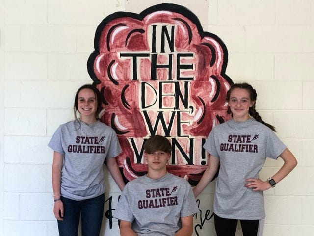 Dickson Middle School track team state qualifiers, from left, Sarah Potter,  Landon Carr, and Skylar Little.