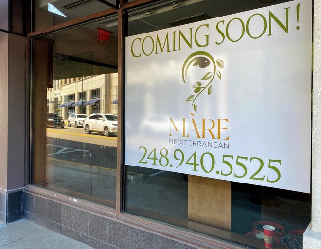 A sign in the former Cameron's Steakhouse indicates Mare Mediterranean will locate along Willits in downtown Birmingham.
