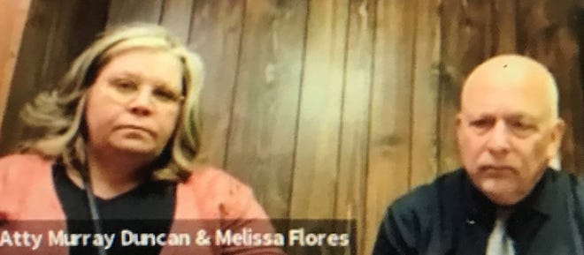 From left to right, Melissa Duncan and her attorney Murray Duncan.