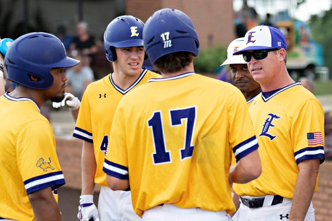 LSU-Eunice baseball coach Jeff Willis talks tp his players during the Region 23 championship game on on May 22, 2021. The Bengals advanced to the Division II National Junior College Athletic Association World Series.