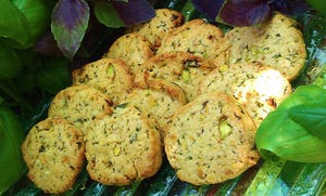 Turn fresh basil into a sweet treat with Sweet Basil and Pistachio Cookies.