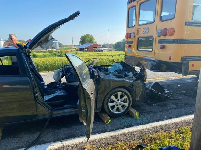 A person was injured Thursday morning after a car ran into the back of a school bus in Hopewell Township. May 27, 2021