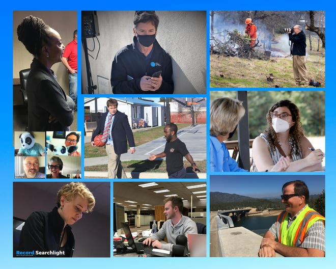 The composite shows Record Searchlight reporters at work. Top row from left, Michele Chandler attends a staff meeting in August 2018. David Benda covers the news from the field in February 2021. Mike Chapman photographs the Sugar Pine Conservation Camp burning brush and tree limbs in February 2019. Middle row from left: Ethan Hanson, David Benda, Mike Chapman and Jessica Skropanic enjoy some down time moments after news planning meetings held remotely in 2020. Ethan Hanson interviews Harlem Globetrotters player Mani Love in early February 2020. Nada Atieh interviews housing for the homeless advocate Laural Parks in July 2020. Bottom row from left: Jessica Skropanic attends a staff meeting in August 2018. Matt Brannon works from his desk in March 2019. Damon Arthur observes as the northbound lane of the Antlers Bridge opens in September 2016.