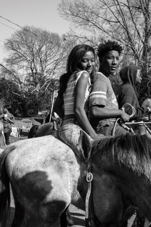 """Jeremiah Ariaz's """"Louisiana Trail Riders"""" exhibition documents the Black cowboy culture through photographs. The exhibition runs June 12 through August 7 at Artspace in Shreveport. Pictured: Young Riders, (Opelousas) 2017"""
