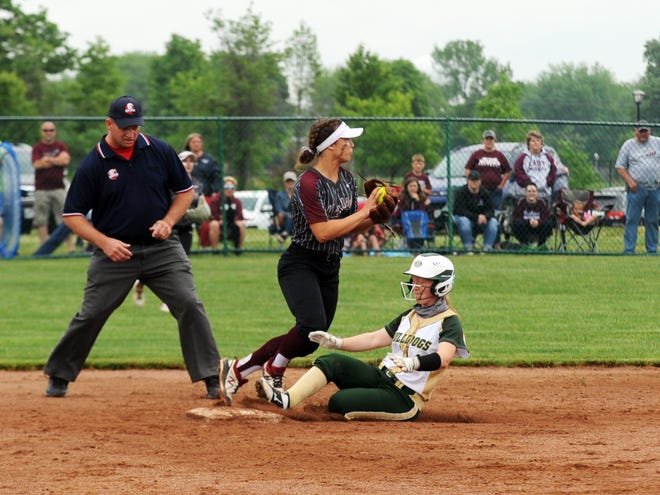 Shortstop Hannah Bendle forces out a runner at second base during John Glenn's 12-2 win in a Division II regional semifinal against Athens on May 26 at Pickerington Central.