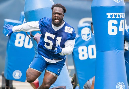 Indianapolis Colts defensive end Kwity Paye works out during Indianapolis Colts OTAs on May 27.
