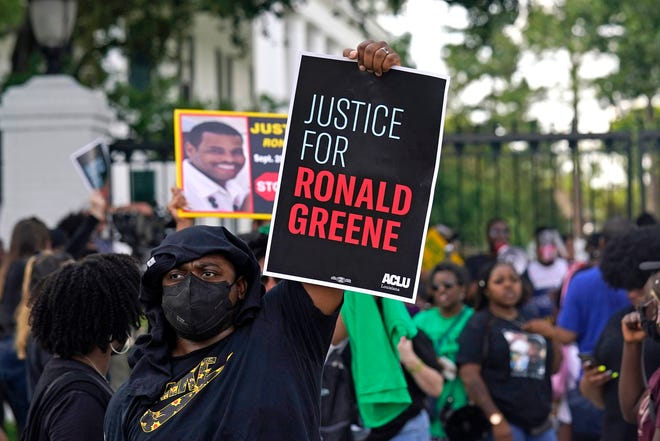 Demonstrators rally outside the Louisiana governor's mansion on Thursday, protesting the death of Ronald Greene, who died in the custody of Louisiana State Police in 2019.